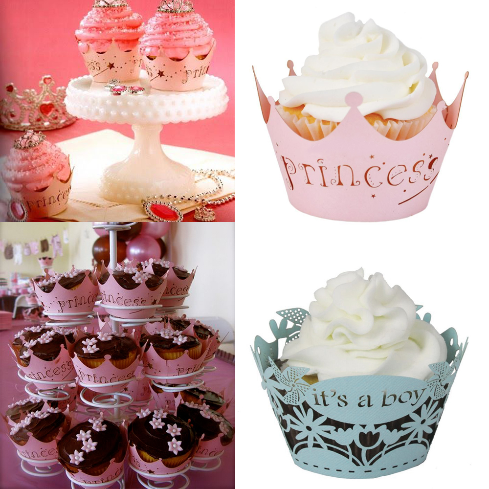 Laser Cut Pink Princess Cupcake Wrapper Cake Decor Muffin Cases Crown Paper Cup