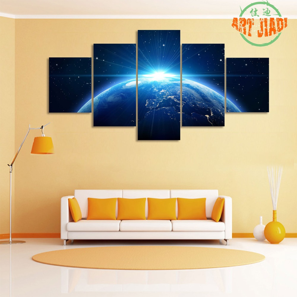 Rising Sun View On Planet Earth From Space 4 5 Pieces Canvas Art ...