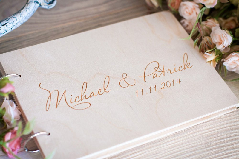 Personalized Wedding Guest Book, Wedding Photo Album Gift Custom Bride & Groom Wooden Kraft Guest Book