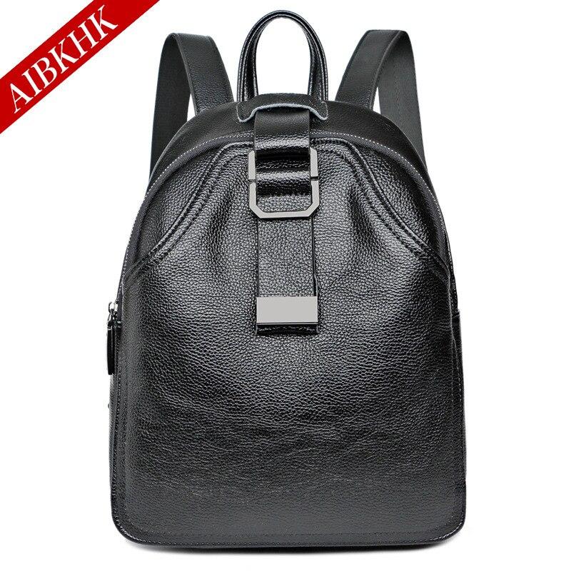 AIBKHK 2017 100% Real Soft Genuine Leather Women Backpack Woman Korean Style Ladies Strap Laptop Bag Daily Backpack Girl School