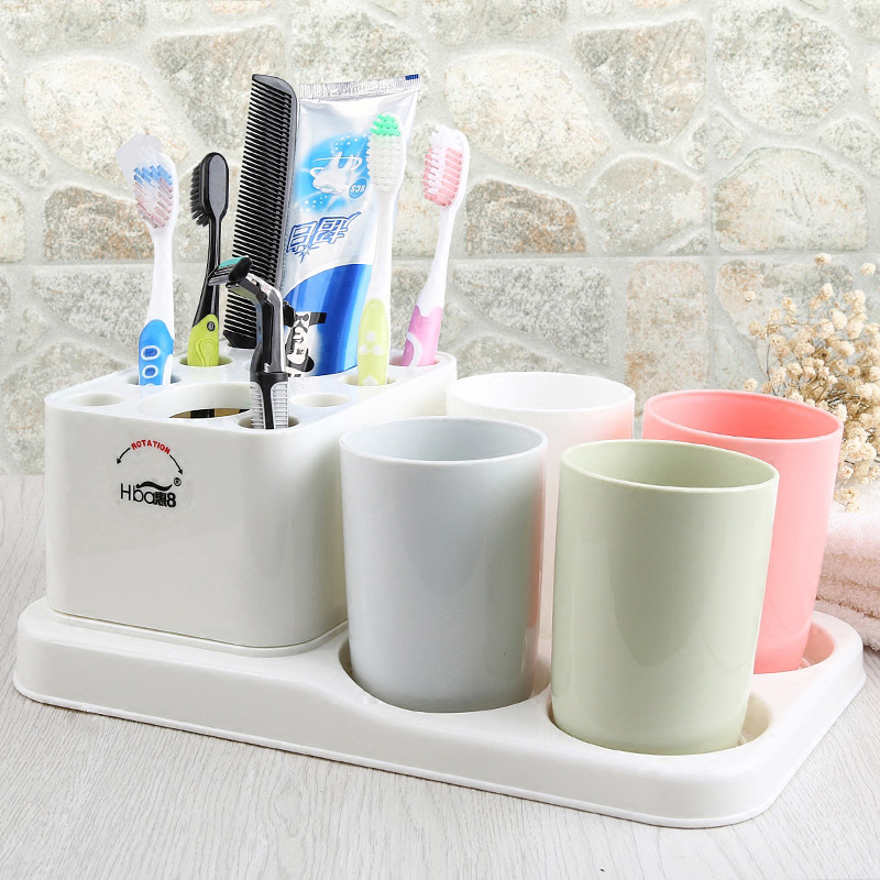 Fashion Modern Bathroom Wash Gargle Suit 5Pcs/Set Bathroom Accessories Set Plastic Toothpaste Tumbler Toothbrush Storage Rack