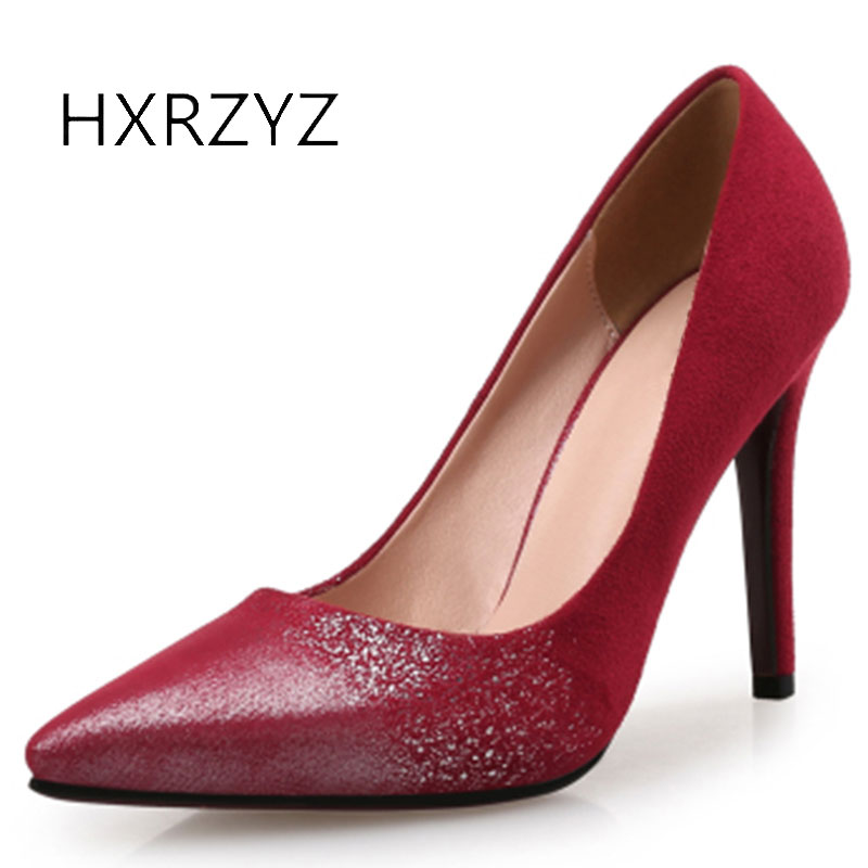 HXRZYZ women red high heels banquet dress shoes spring/autumn female new fashion pointed toe super high women shoes black pumps new spring autumn women shoes pointed toe high quality brand fashion ol dress womens flats ladies shoes black blue pink gray