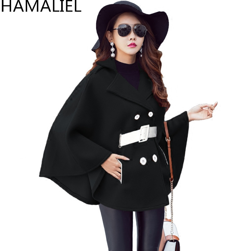 Подиумное черное пончо накидка зимнее пальто модное женское Шерстяное твидовое плотное пальто с рукавами летучая мышь с отложным воротником теплое шерстяное пальто - Цвет: Черный