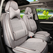 Linen Fabric Car Seat Covers 5 Seat Custom Fit for MG3 Interior Accessories Set Black Sports Car Seats Cushion Protector Airbags