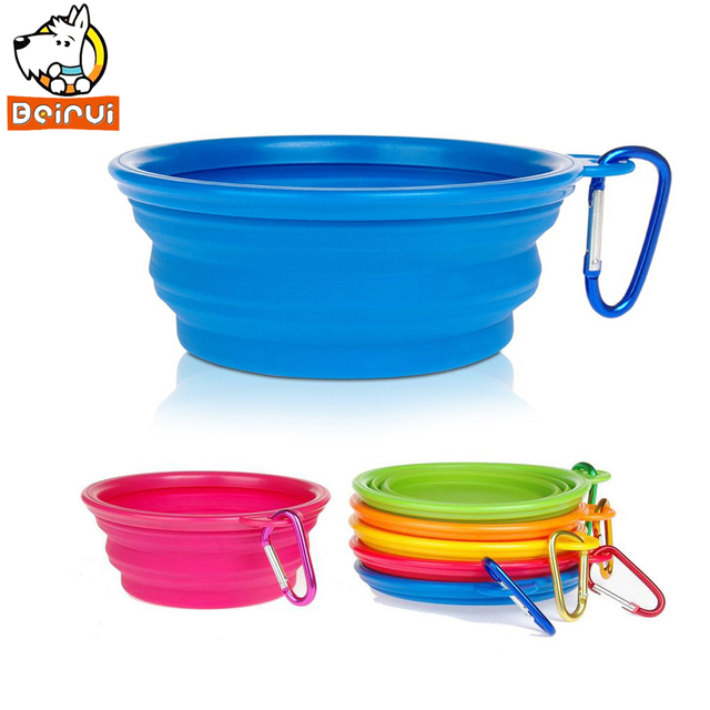 5 Colors Silicone Pet Dog Cat Feeding Bowl Collapsible Water Dish Portable Feeder Puppy Travel Bowls