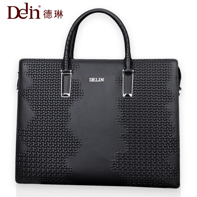 Delin men bag business package men's handbag shoulder bag cowhide briefcase cross section first layer leather bag men's section