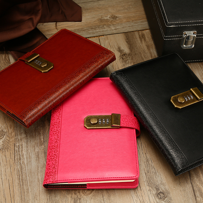 NEW Leather Notebook Diary with lock code Bussiness A5 Notepad paperback creative Trends Office school supplies gift