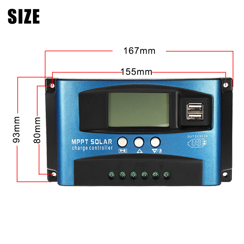 12//24V 30//50//70A Maximum Power Point Tracking Solar Charge Controller Panel Batterie Regulator Dual USB