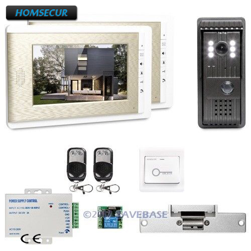 HOMSECUR 1V2+Strike Lock 7 Video Door Entry Security Intercom with User-friendly Design of Mute Mode for Home Security