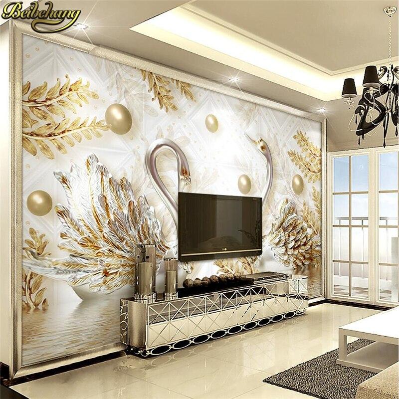 Beibehang Custom Papel De Parede 3D Luxury European Swan Jewelry Flower Wallpaper Living Room TV Backdrop Photo Mural Wall Paper