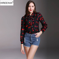WREEIMA Vintage Blouse Floral Print Shirt 2018 Spring Autumn Woman Long Sleeve Turn Down Collar Tops