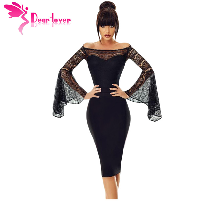 Dear Lover Little Black Spring 2018 Sexy Party Lace Bell Long Sleeve Off Shoulder Bodycon Dress Knee-Length Robe Femme LC220269