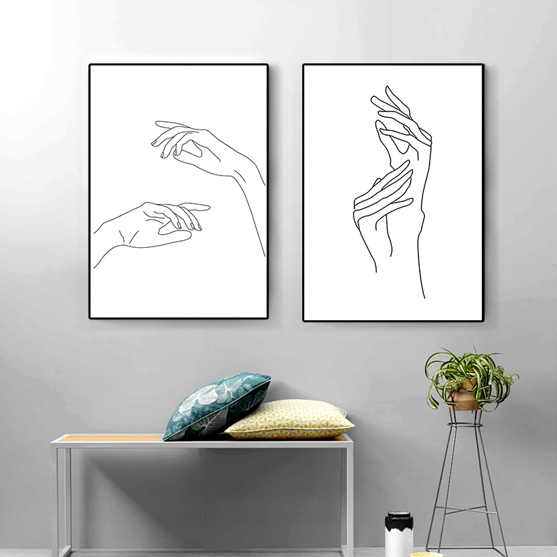 Abstract Lady Line Drawing Picture Home Decor Nordic Canvas Painting Wall Art Figure Body Hand Posters and Print for Living Room 2