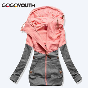 Gogoyouth Spring Women Jacket 2019 Autumn Winter Oversized Hooded Sweatshirt Zipper Hoodies Plus Size Coat Female Sweat Femme