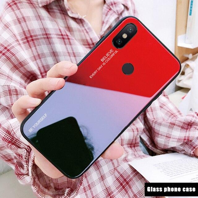 Gradient Tempered Glass Case For Xiaomi Redmi Note 5 6 Pro Pocophone F1 Mi8 Mi A2 Lite 6X 5X A1 Note 7 9 Cover Protective Fundas