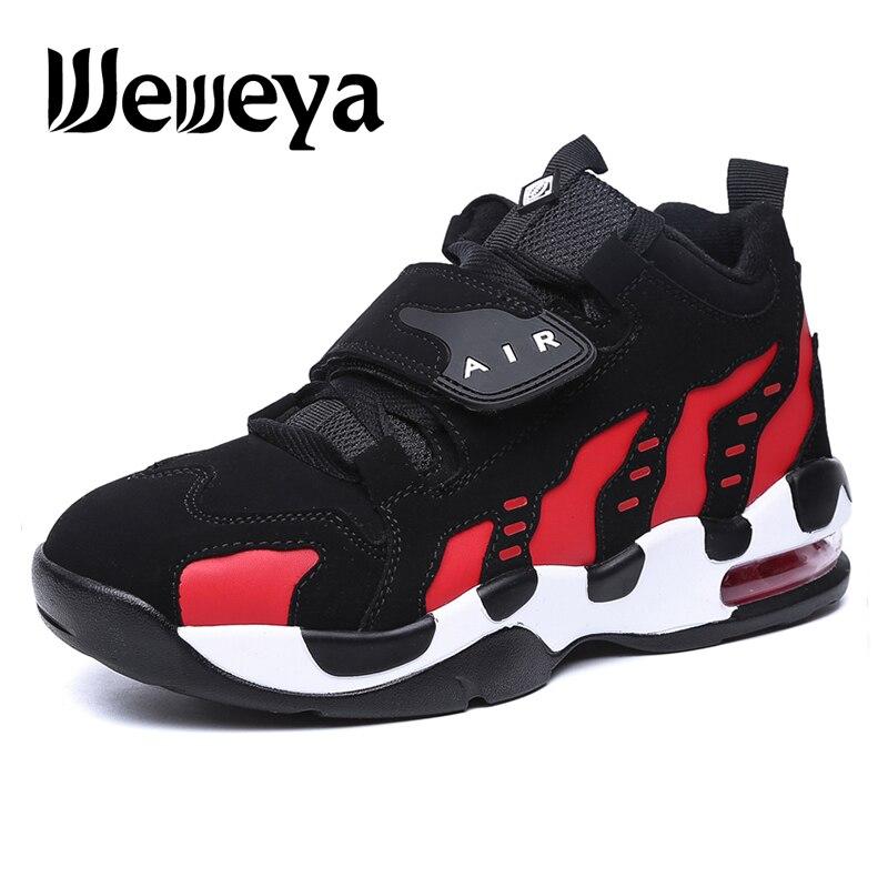 Weweya Männer Air Sohle Basketball Schuhe Frauen Kuh Turnschuhe Outdoor Indoor Paar Sport Schuhe Höhe Zunehmende Schwarz Rot Zapatillas Starke Verpackung Turnschuhe