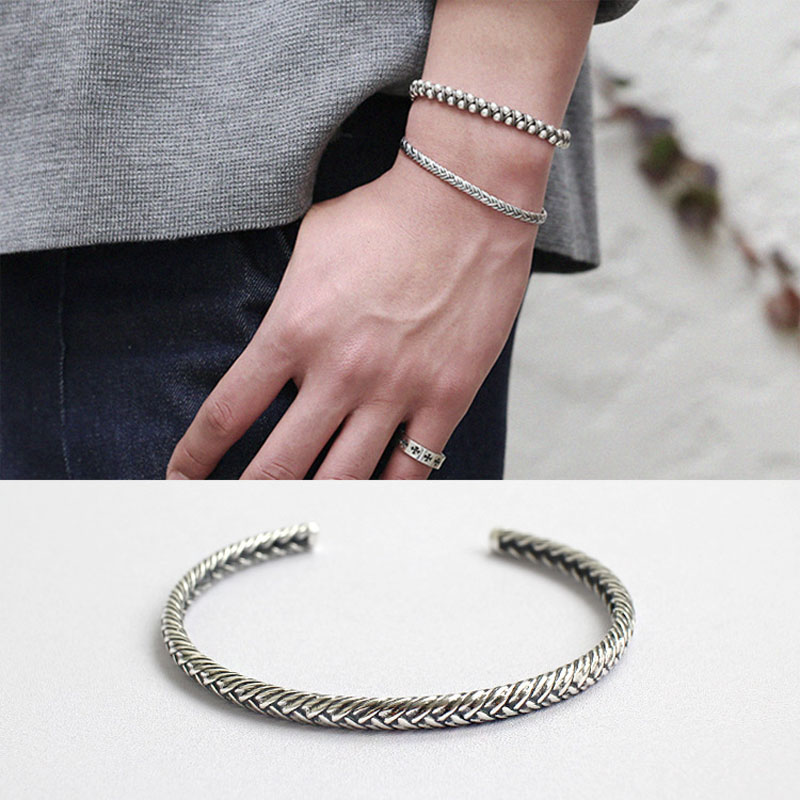 Vintage retro indian jewelry style silver 925 jewelry cuff bracelets for women and girls indian bangles pulseiras feminina 2017