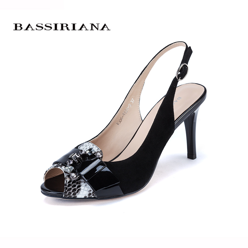 High thin font b heels b font Sandals for Woman Basic model Genuine leather Casual 35