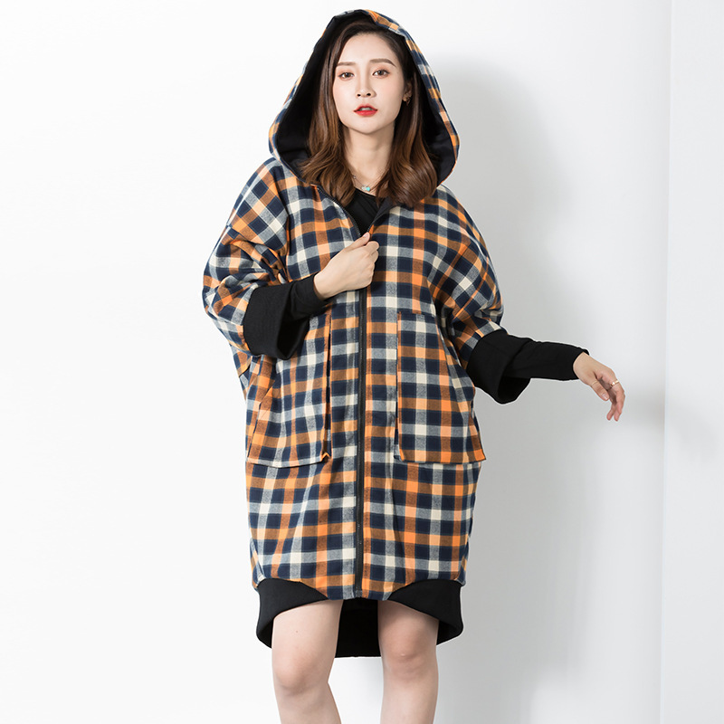 LANMREM 2018 New Fashion Contrast Color Plaid Hooded Oversize Overcoat Female's Loose Large Size   Trench   Vestido YE839
