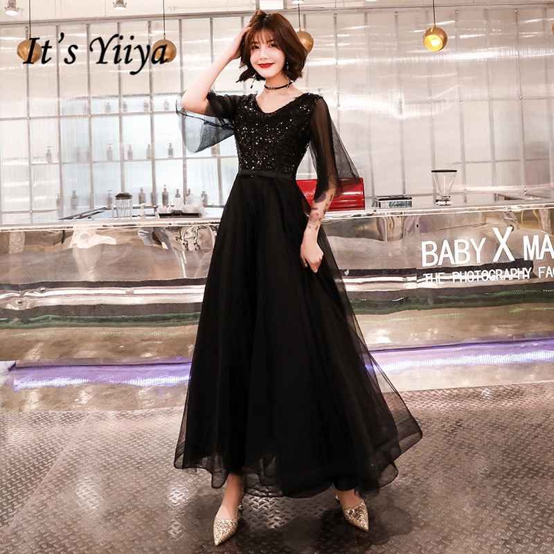 It's YiiYa   Prom   Gowns Black Sequins Bling A-ling Floor Length V-neck Half Sleeves Plus size Customized   Prom     Dresses   2019 E436