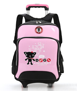 Brand children school bag boys trolley backpack with wheels ...