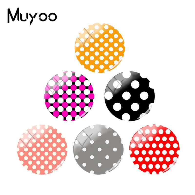 2018 New Color Dots Jewelry Glass Cabochon Jewelry Art Photo Round Handmade Cabochons