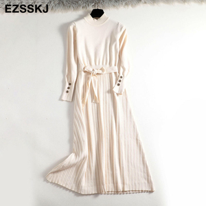 Image 4 - 2019 autumn winter maxi sweater dress women long sleeve loose female long sweater dress with belt elegant a line button dress