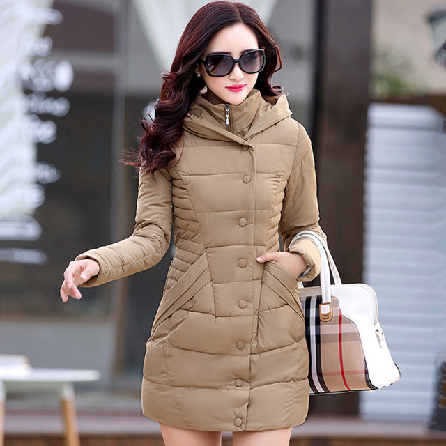 2017 new Casual fashion winter parkas hooded jacket women cotton wadded overcoat medium-long slim plus size XXXL wine red coats