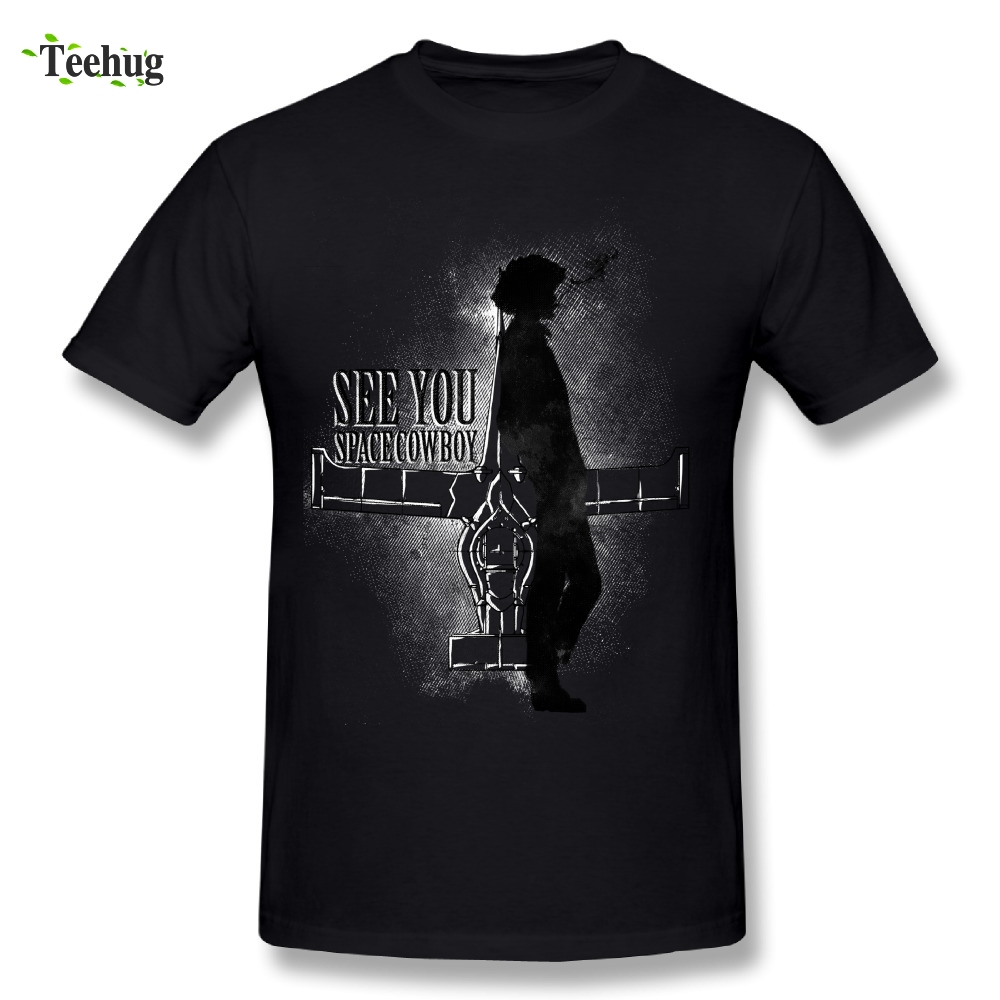 Graphic Male Cowboy Bebop in Space Tee Shirt Round Neck Design T Shirt Short Sleeve