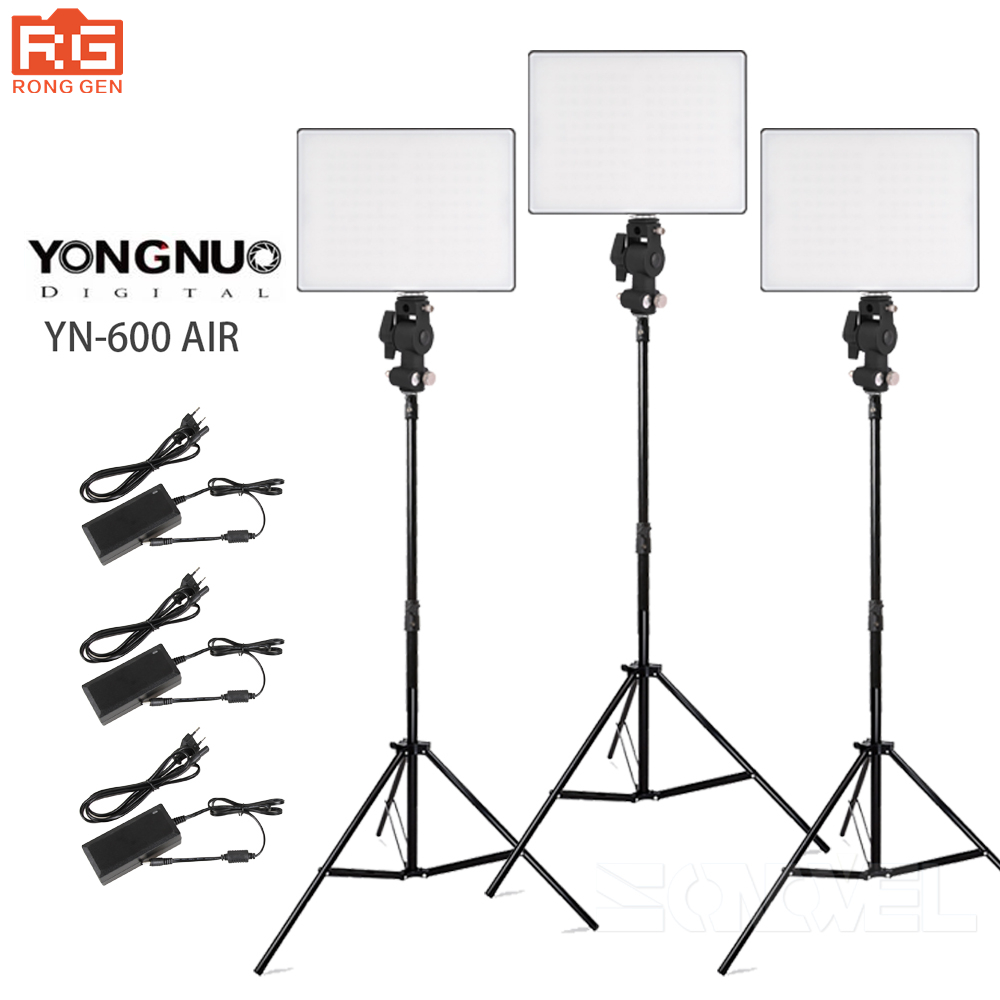 YONGNUO YN600Air YN600 Air LED 3200K-5500K Photography Light Kit + Power Adapter for Canon Nikon Pentax Olympas DSLR & Camcorder led 5012 10pcs 15w led video light bi color continuous light f750 battery kit for canon nikon pentax dslr camera camcorder dv
