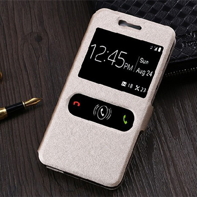 For ZTE Blade X3 Case Quick Answer Window View Phone Leather Cases Flip Cover For ZTE Blade A452 X3 D2 T620 Cases Cover Capas