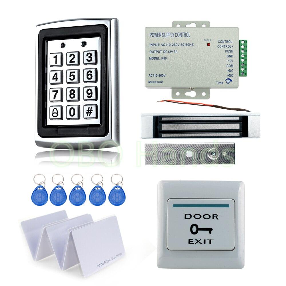 Complet RFID Porte Système de Contrôle D'accès de Kit de métal de contrôle d'accès clavier avec 180 KG serrure magnétique + puissance + commutateur de sortie + 10 clé cartes