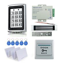 Pełne RFID zestaw systemu kontroli dostępu do drzwi metalowa klawiatura kontroli dostępu z 180 KG zamek magnetyczny + power + wyjścia przełącznik + 10 karty tanie tanio K7612-CLS1 Brak Fail bezpieczne OBO RĘCE 180kg Magnetic Lock DC12V 3A 1000 karty użytkownika 5pcs EM Compatible 125KHz
