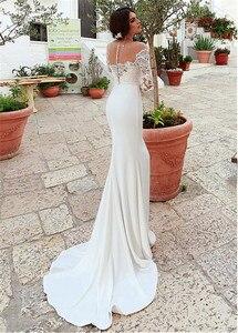 Image 4 - Niesamowite Tulle & w cztery strony elastan Scoop dekolt syrenka suknia ślubna z koronkowymi aplikacjami długie rękawy suknie ślubne