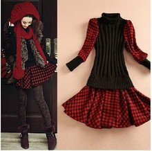 Women lady long sleeve Grinding wool comfortable font b dress b font maxi casual font b