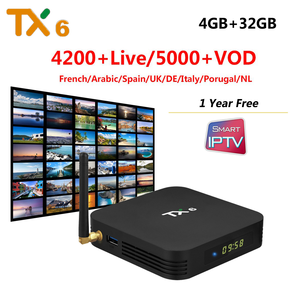 TX6 4GB RAM 32GB ROM Android 9 0 TV Box with 1 Year IPTV Subscription for