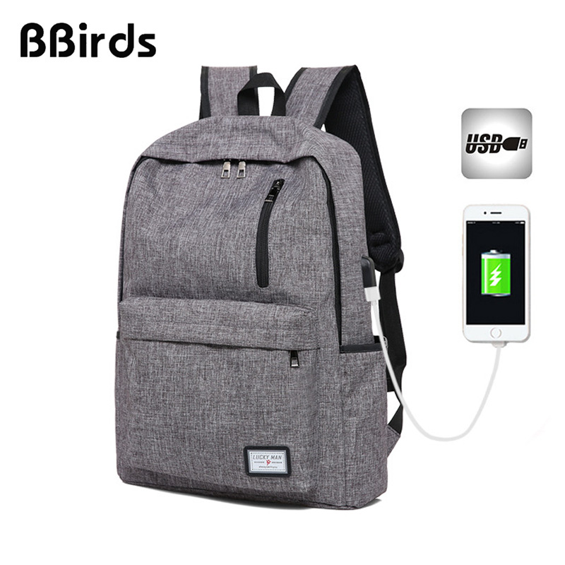 Bbirds Usb 15.6 Inch Laptop Backpacks Waterproof Male Female Notebook Usb Backpack Men's Women Bag Rugzak Fortnit School Bag