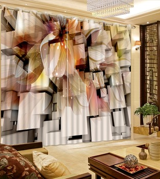 Blackout curtain 3D Window Curtain Dinosaur print Luxury Blackout For Living Room  lily curtains flower curtain