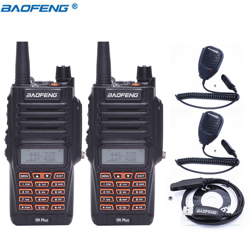 2 pcs Baofeng UV-9R Plus IP57Waterproof 8 w 10 km Longue Portée Puissante Talkie Walkie CB Radio VHF/UHF mise à niveau de UV 9R + 2 Mic + 1 Câble
