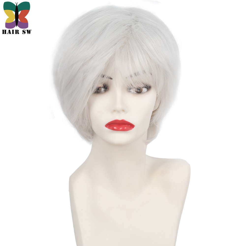 HAIR SW Short Straight Bob Cut older ladies Wig Soft natural white bangs layered synthetic Wigs for women with thinning hair