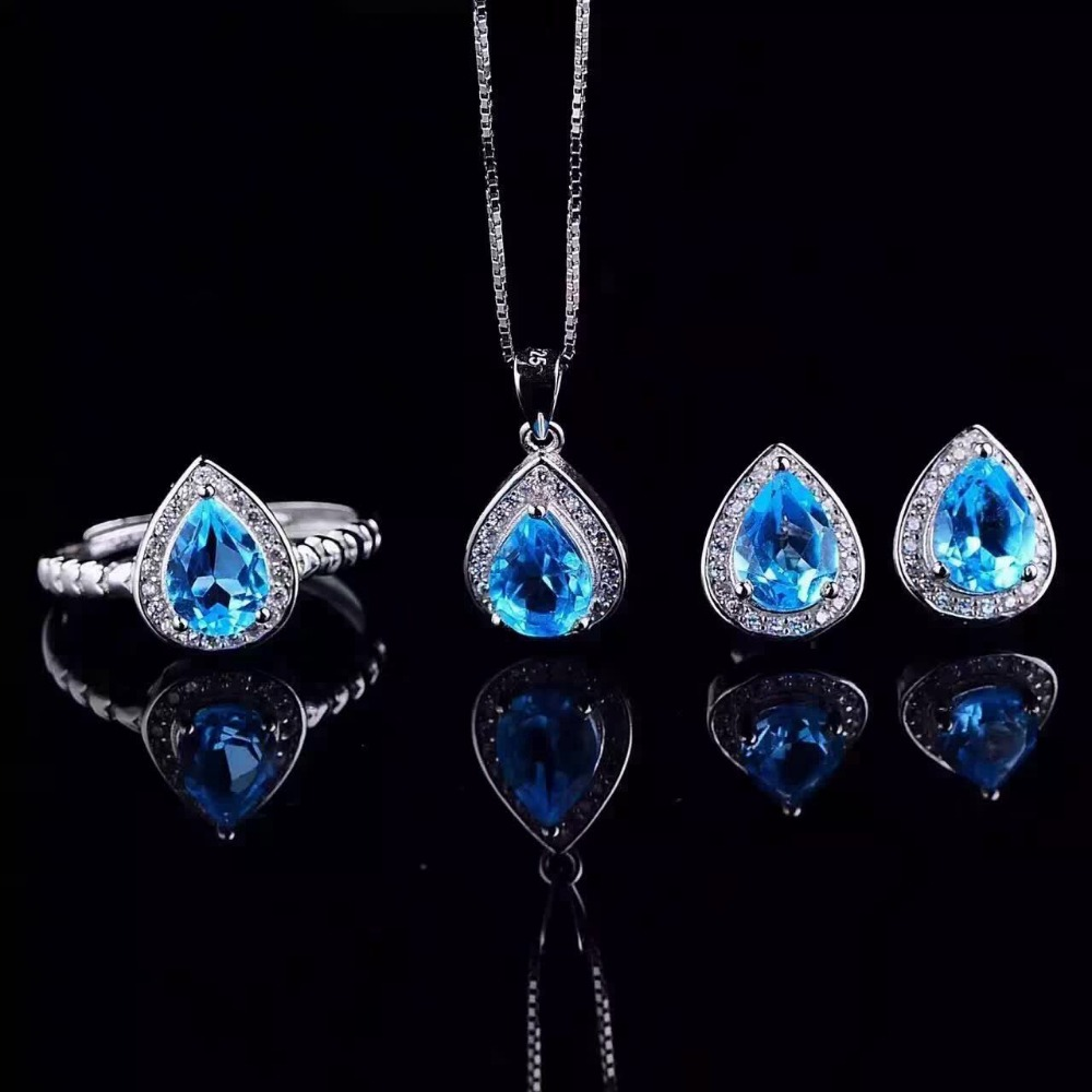 Fidelity Natural blue topaz s925 sterling silver fashion fine jewelry sets for women party natural gemstone ring Pendant