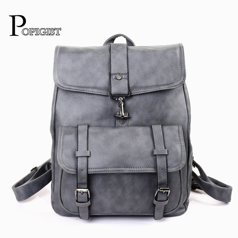 цена POPIGIST Retro design women's Brand Backpacks Ladies Backpacks Couple Unisex Youth top quality Leather bag онлайн в 2017 году