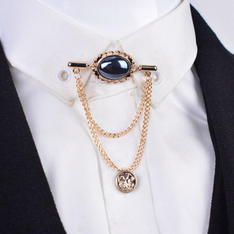 High quality fashion crystal gem men brooch with tassel for Mens shirt with tassels