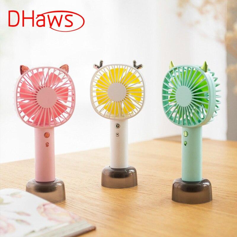 Dhaws Neue Nette Handheld Fan Mini Wiederaufladbare Tragbaren Kleinen Elektrischen Ventilator Student Büro Desktop Hand Holding Usb Fan 2000ma