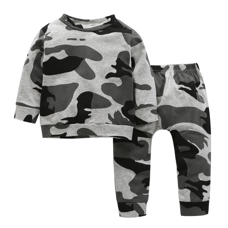 Baby children two sets of clothing sets spring and autumn camouflage printing long-sleeved T-shirt + long pants boy clothing