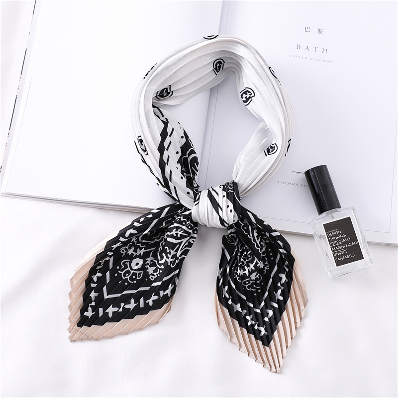 Women Crinkle Scarf Square Silk Neck Scarves for Ladies Designer Satin Pleated Scarfs Girl Head Band