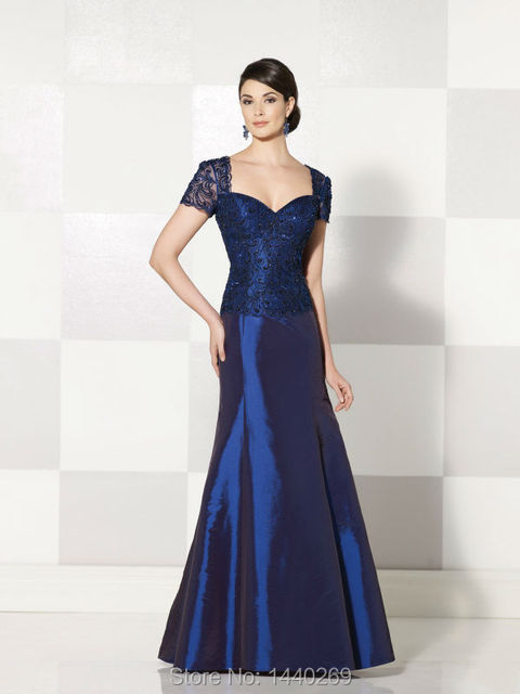 A linha de manga curta tafetá azul mãe da noiva vestidos de comprimento No longo vestido Formal