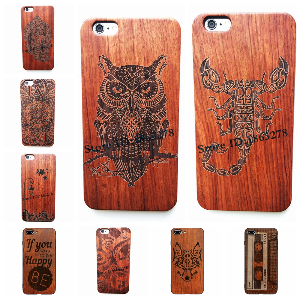 29 Pattern Wise Owl Scorpion King Totem Retro Bamboo Wood Phone Case For Iphone 6 6S 7 Plus 5 5S SE Wooden Iphone7 Cover Shell