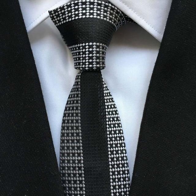 f40058ade6e5 Designer Fashion Men Skinny Tie Unique Panel Necktie White Grids with Black Vertical  Stripe