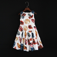 Summer children clothing family clothes cupcake sleeveless pleated dress kids mom girl beach dress mother daughter fashion dress